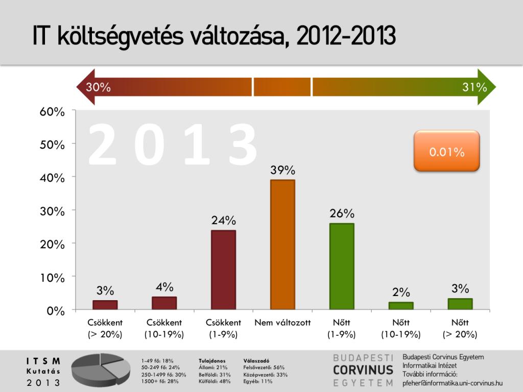 IT költségvetés változása 2012-2013